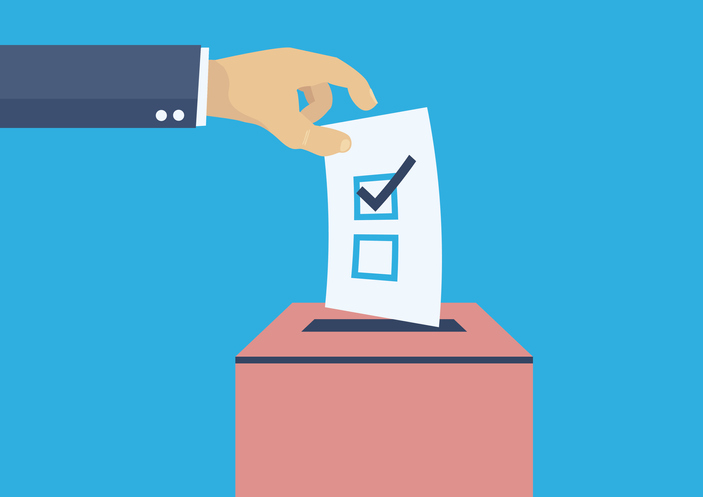 Image of hand placing vote in ballot box