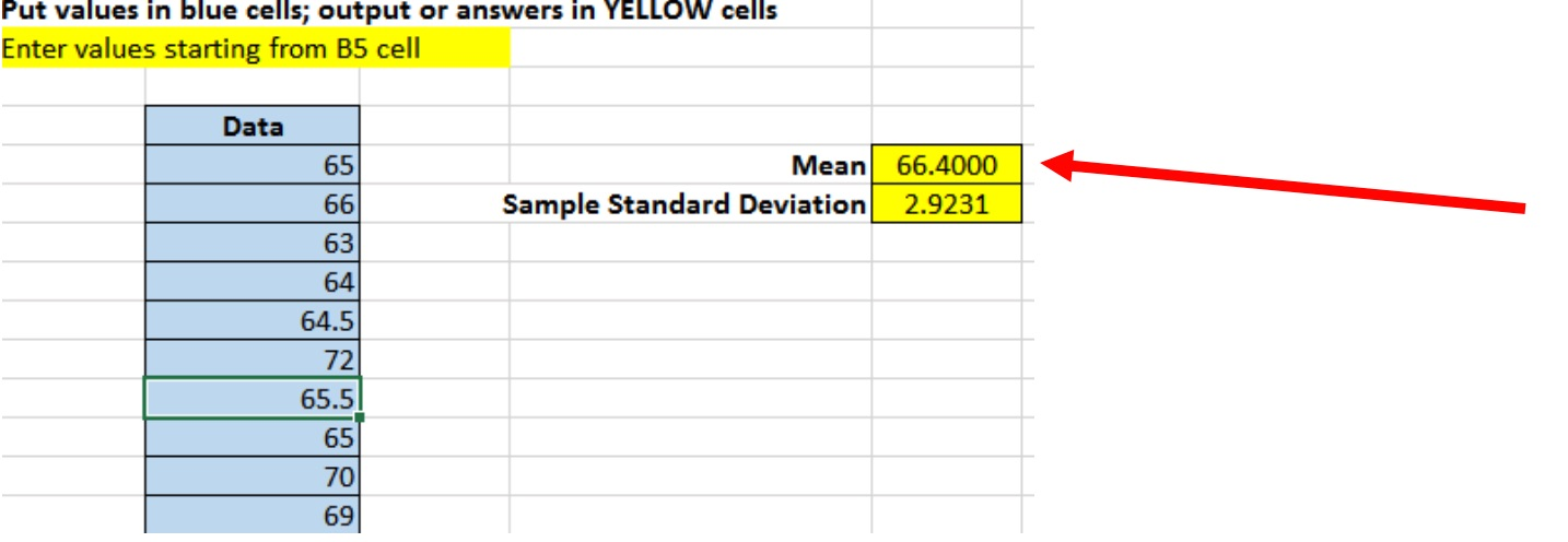 example of adding a point estimate to spreadsheet