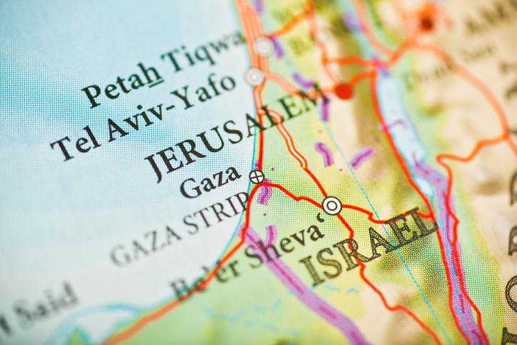 Close-up of map of Israel, including Jerusalem, Gaza strip, and Tel Aviv