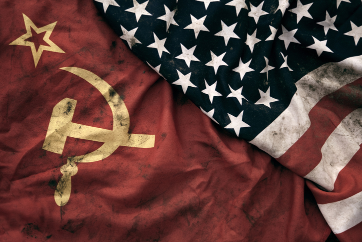 Soviet and U.S. flags