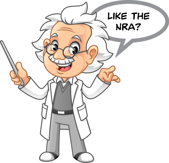 """Cartoon professor image holding a pointer and asking, """"Like the NRA?"""""""