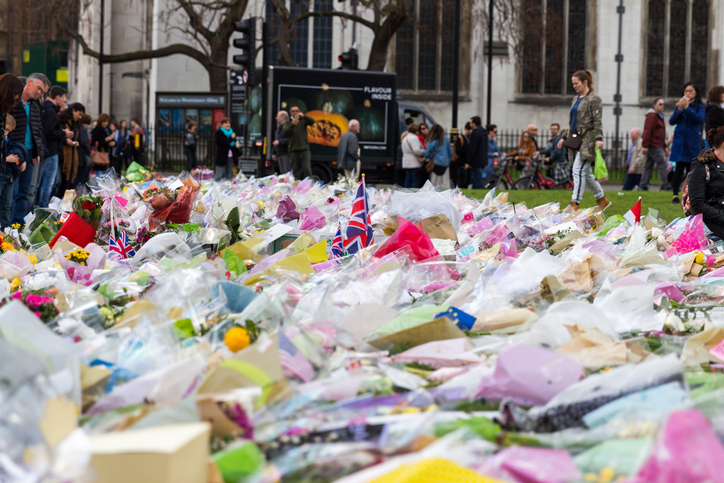 1st April, 2017: Parliament Square been covered with flowers for those killed in terrorist attack